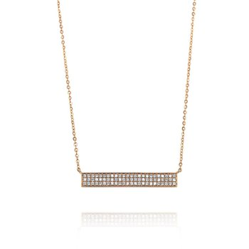 18K Rose Gold Diamond Bar Necklace