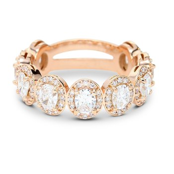 Oval Halo Diamond Band 14KR