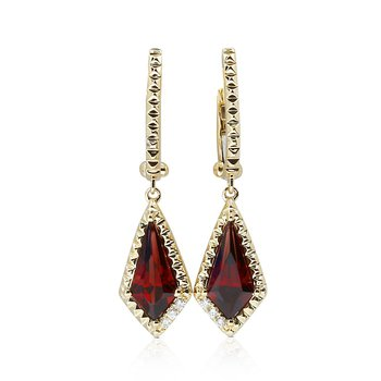 Kite Shape Garnet Dangles 14KY