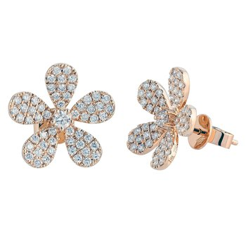 Diamond Flower Earrings 18KY
