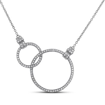 Interlocking Circles Necklace 18KW
