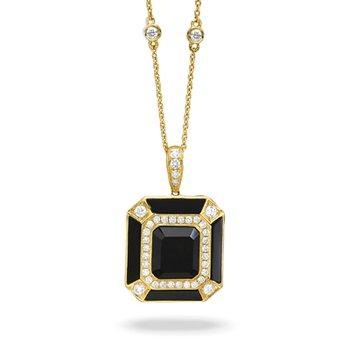 Gatsby Diamond & Onyx Pendant 18KY