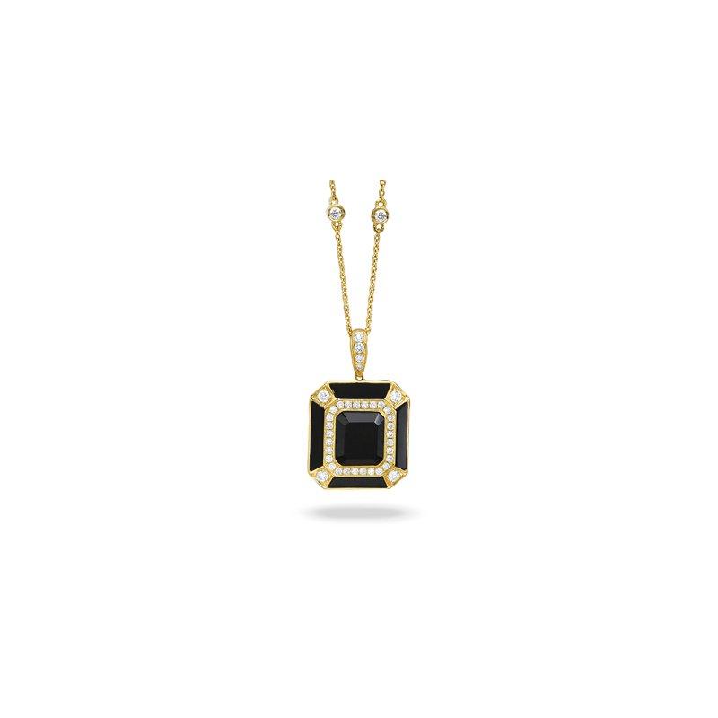 Doves Gatsby Diamond & Onyx Pendant 18KY