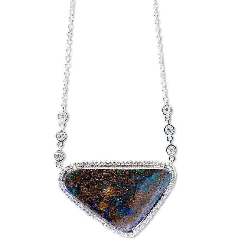 Meira T Boulder Opal Halo Necklace