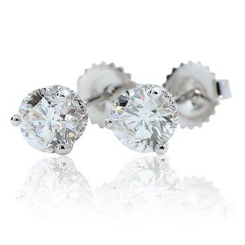 2.01 E VS2 Clarity Enhanced Diamond Studs