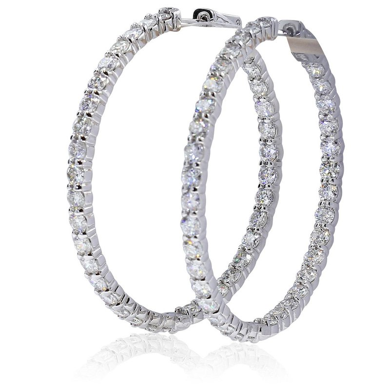 London Gold Designs 6.10cttw Inside-Out Diamond Hoops 14KW