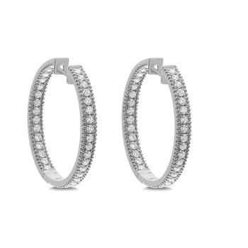 2.00ct Inside Out Diamond Hoops 18KW