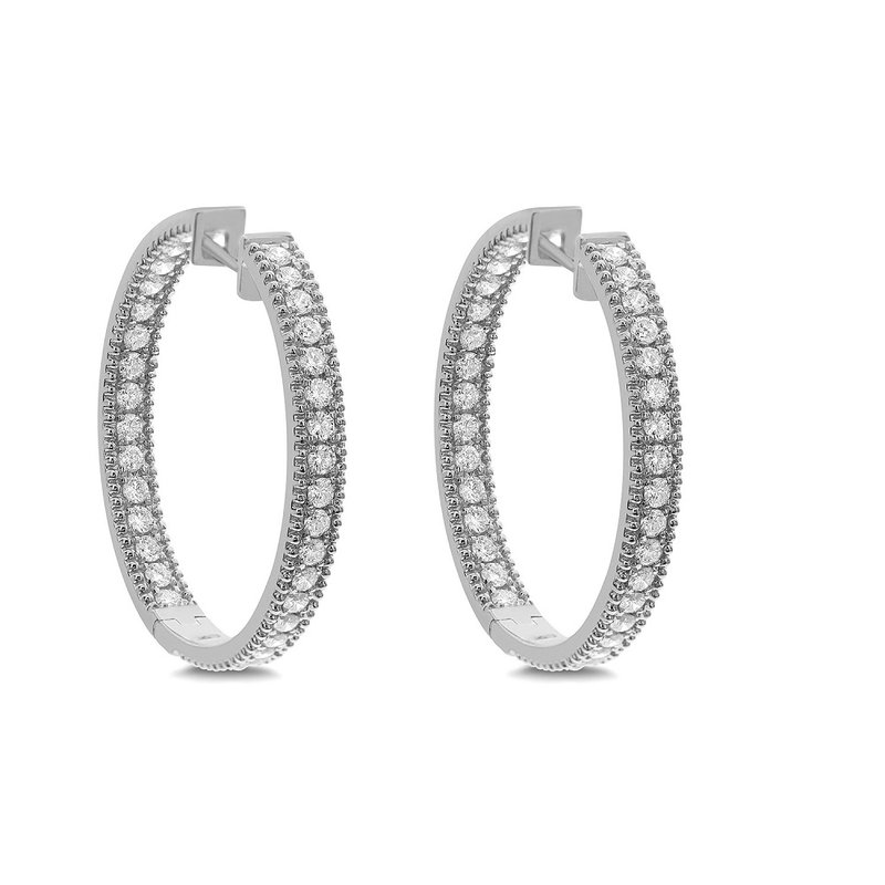 London Gold Designs 2.00ct Inside Out Diamond Hoops 18KW