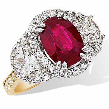 4.03 Oval Ruby Ring 18K