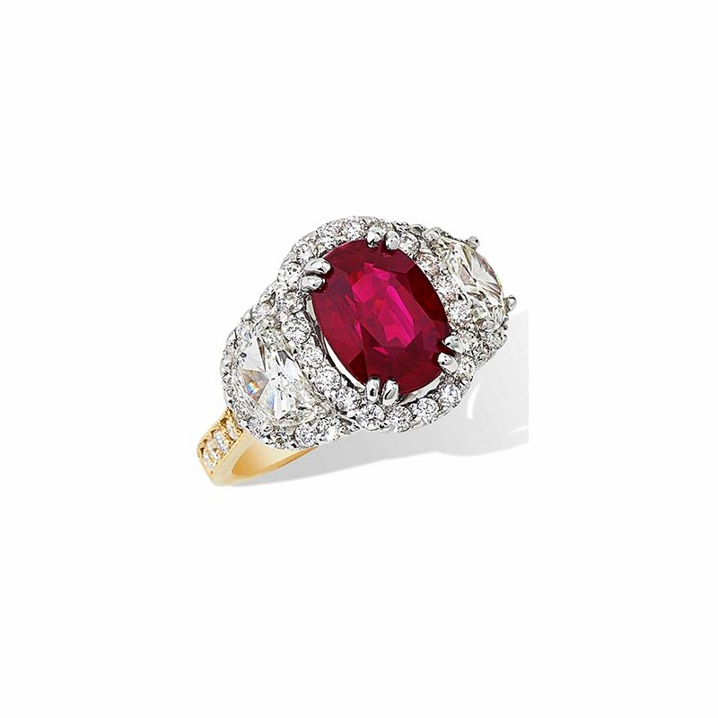 London Gold Designs 4.03 Oval Ruby Ring 18K