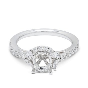Marquise & Round Diamond Halo Setting