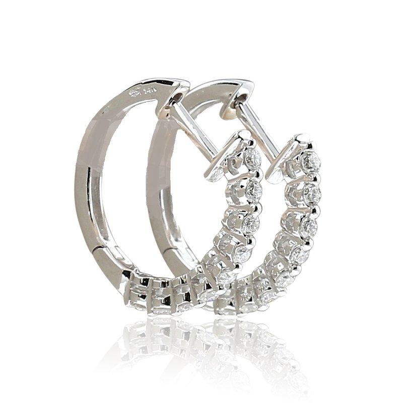 London Gold Designs Small Diamond Hoops 14KW