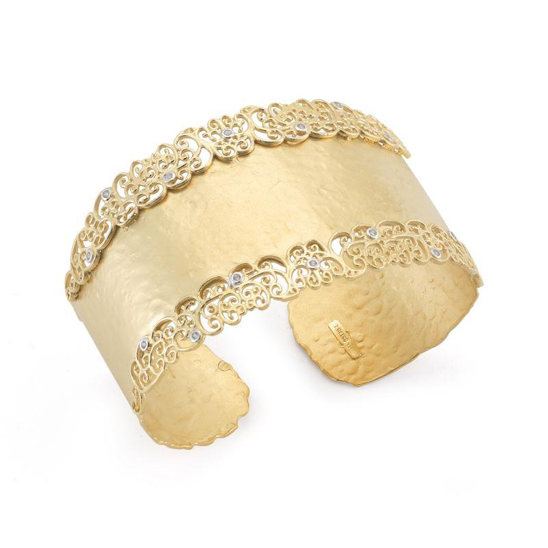 I. Reiss Filigree Cuff Bracelet 14KY .30CT
