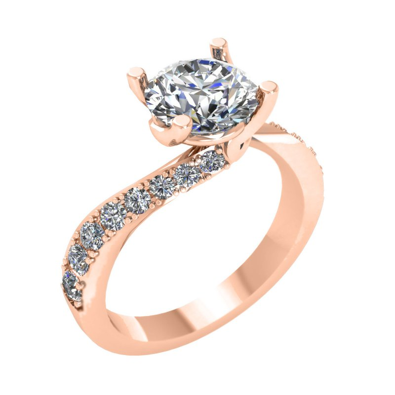 Isadora Bypass Engagement Ring 18KR - Setting Only