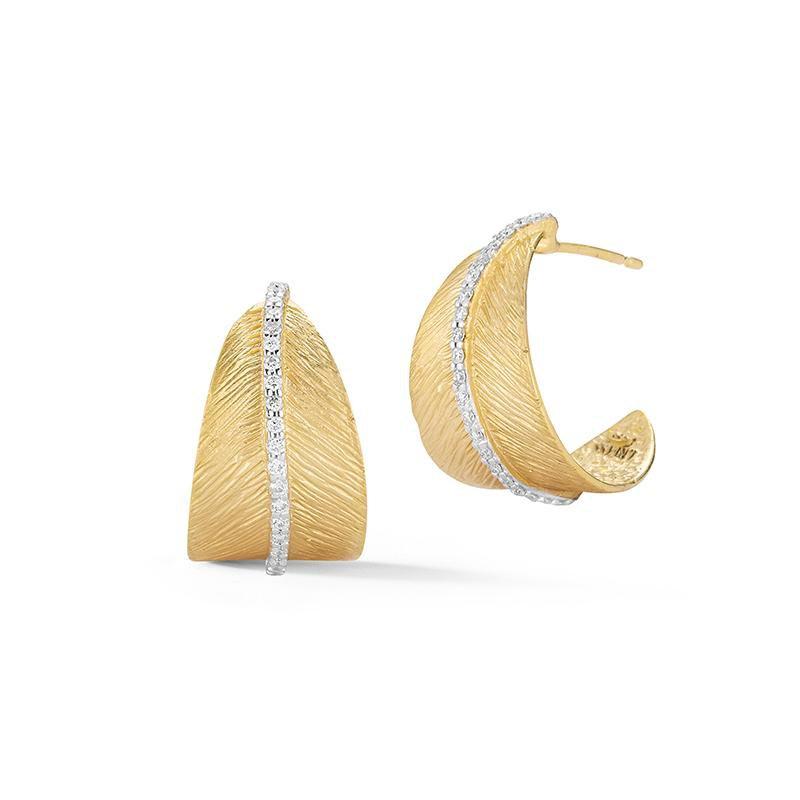 I. Reiss Feather Huggie Earrings 14KY