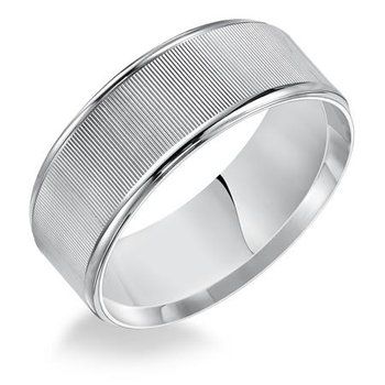 8MM Flat Linear Finish Wedding Band