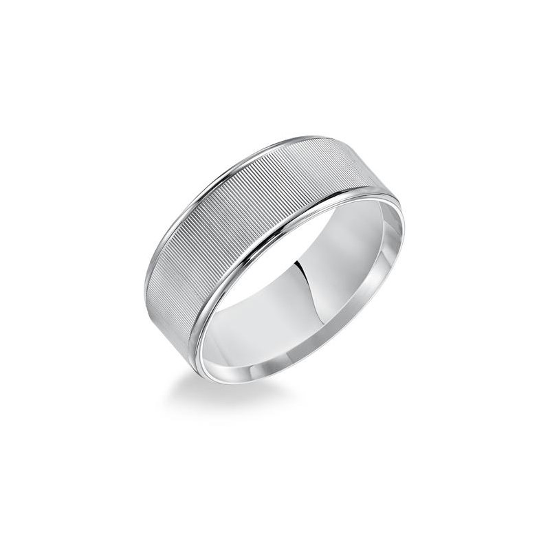Frederick Goldman 8MM Flat Linear Finish Wedding Band