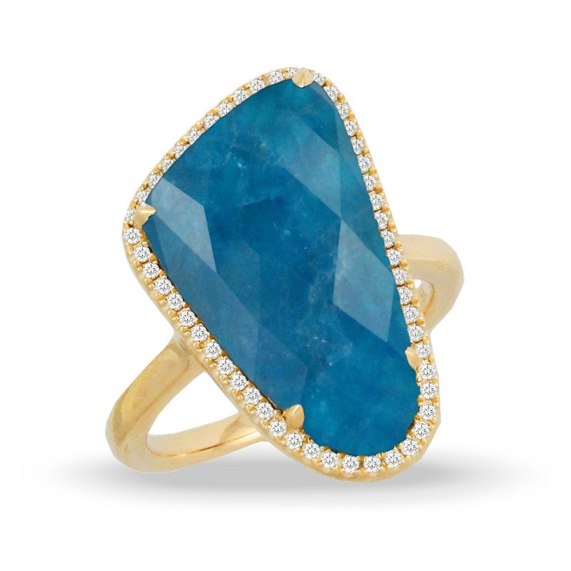 Doves Diamond Halo & Apatite Ring 18KY