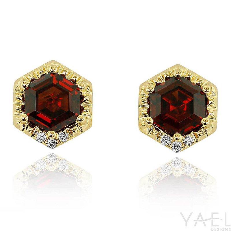 Yael Designs Hexagon Garnet Earrings 14KY