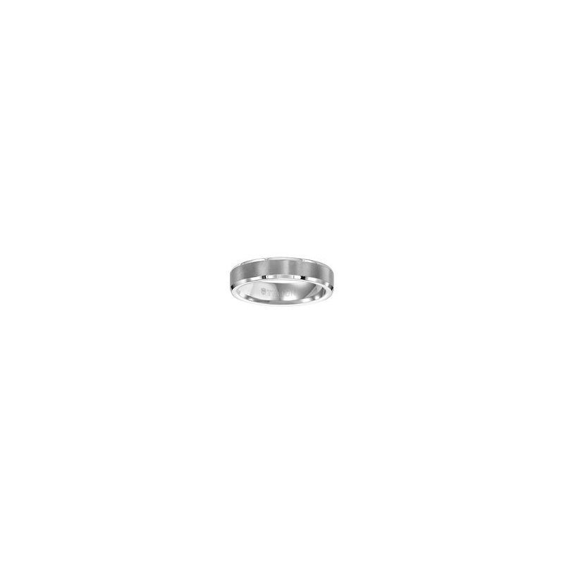 Frederick Goldman 5MM Bevel White Tungsten Engraved Wedding Band