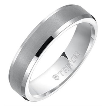 5MM Bevel White Tungsten Engraved Wedding Band