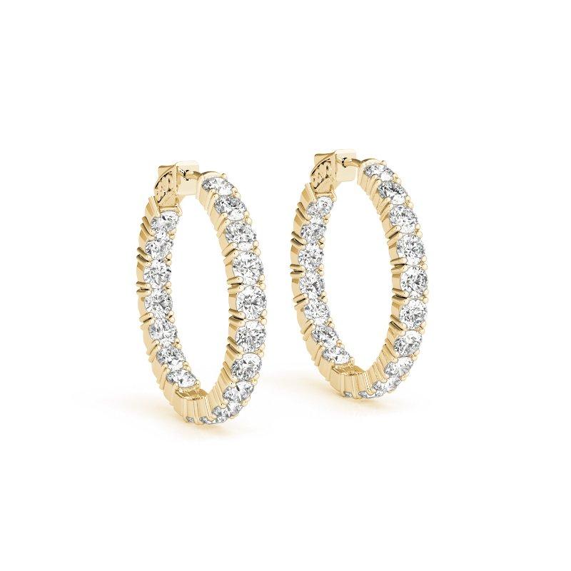 Gallery Designs Inside Out Diamond Hoops 14K