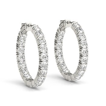 Inside Out Diamond Hoops 14K