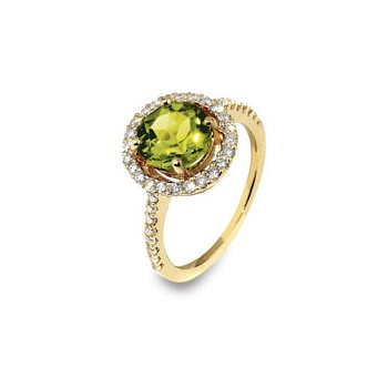 Peridot Halo Ring 18KY