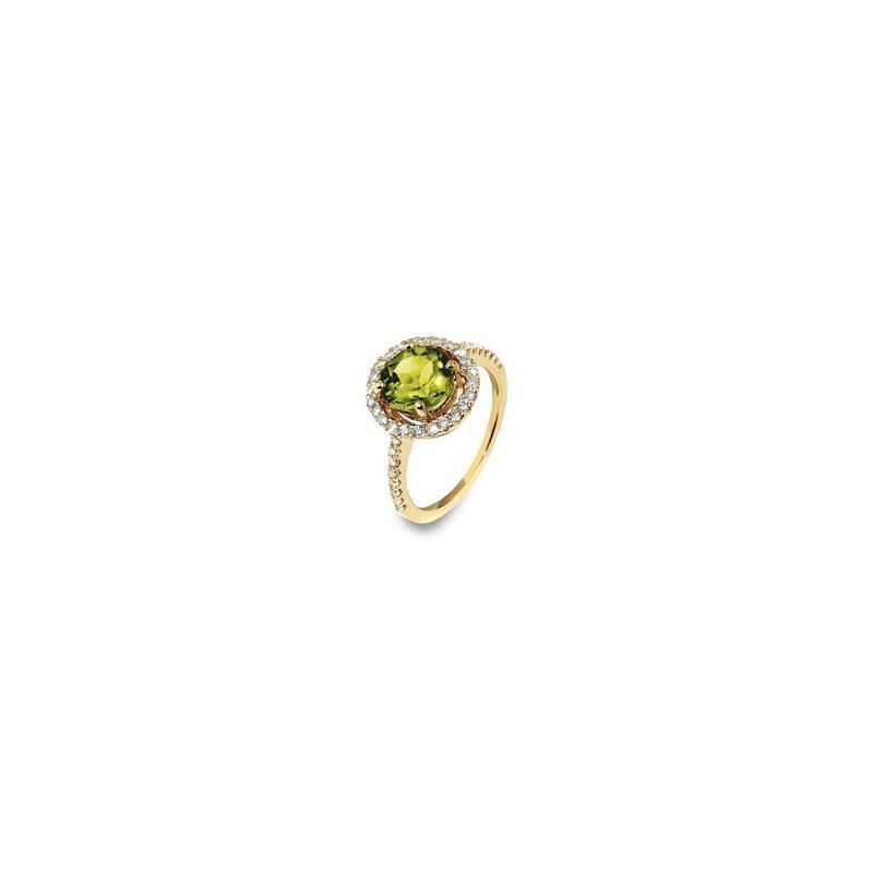 London Gold Designs Peridot Halo Ring 18KY