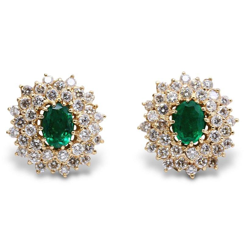 Estate Jewelry Diamond & Emerald Earrings 14KY