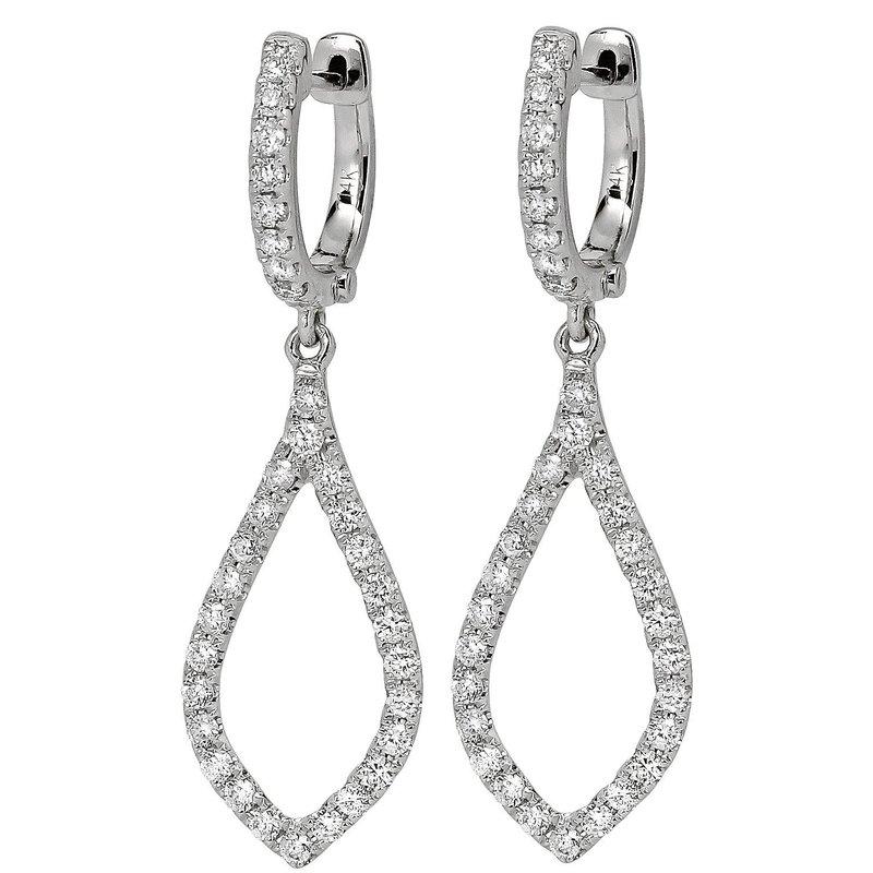 London Gold Designs Open Dangle Earrings 18KW