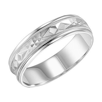 14KW White Gold Comfort Fit Engraved Wedding Band