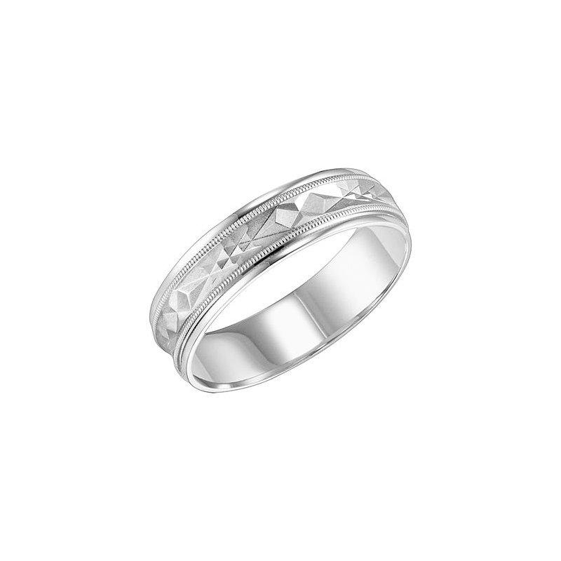Frederick Goldman 14KW White Gold Comfort Fit Engraved Wedding Band