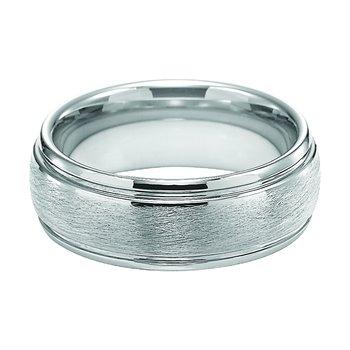 Wire Finish White Tungsten Engraved Wedding Band