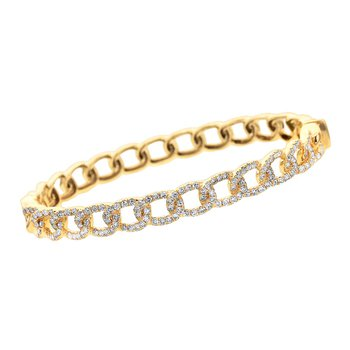 Chain Link Diamond Bangle 18KY