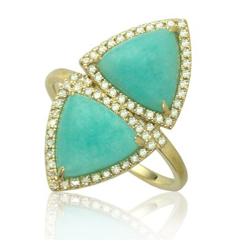 Double Trillion Amazonite Ring