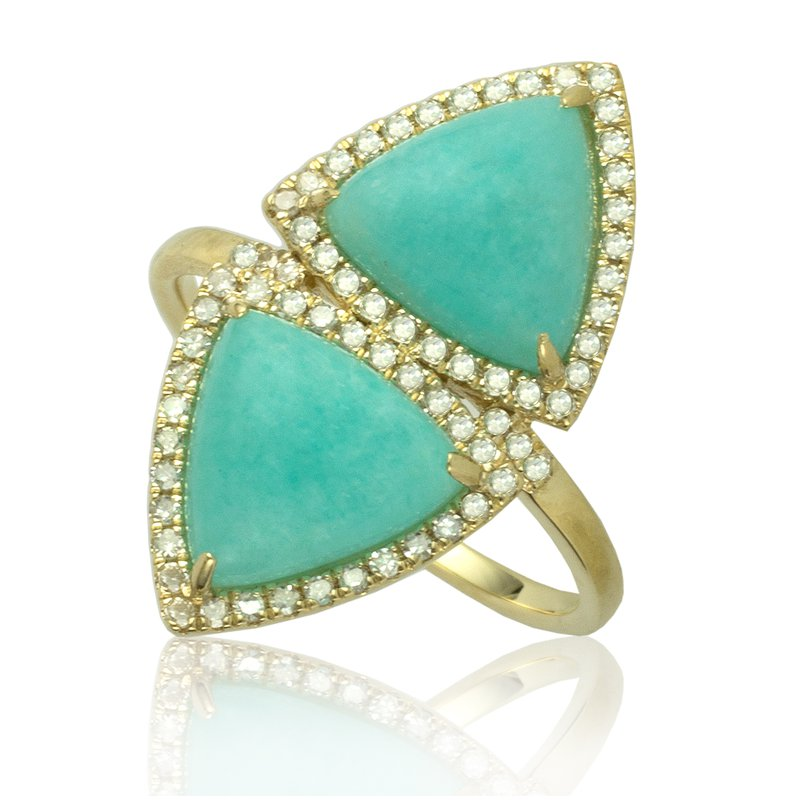 Sophia by Design Double Trillion Amazonite Ring