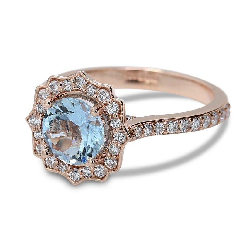 Ascencio Designs Aquamarine Halo Engagement Ring - Custom Order