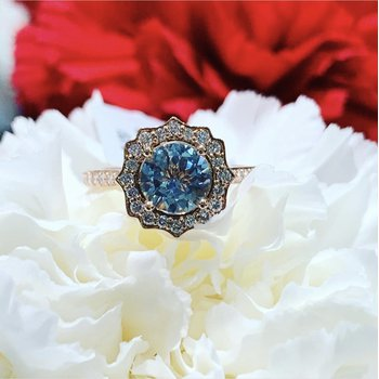 Aquamarine Halo Engagement Ring - Custom Order
