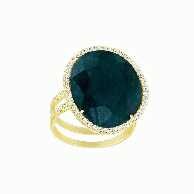 Meira T Sapphire & Diamond Halo Ring