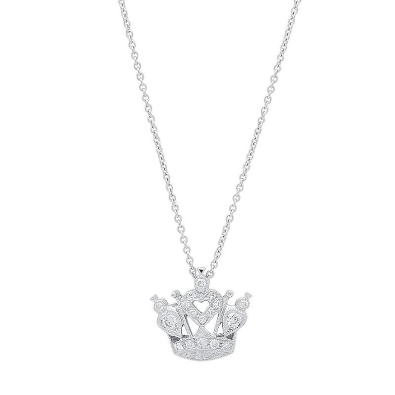 Beverley K Crown Pendant 14KW