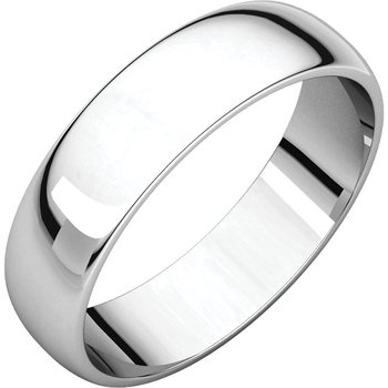 14K White 5mm Half Round Light Band