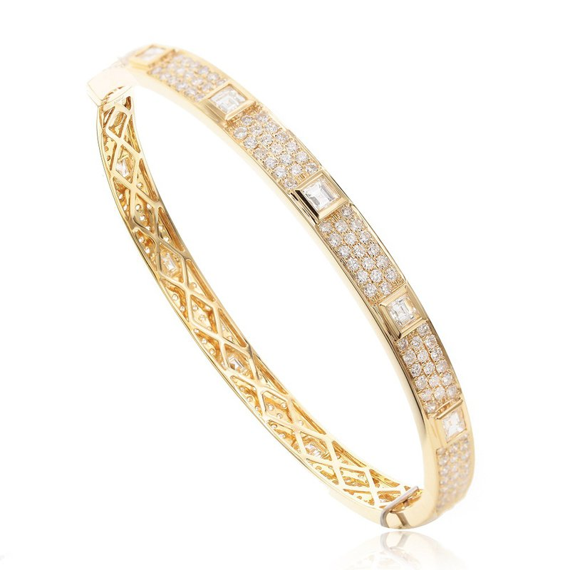 London Gold Designs Eternity Diamond Bangle Bracelet 18KY