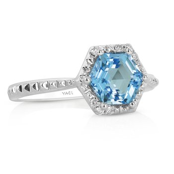 Geometric Blue Topaz Ring 14KW