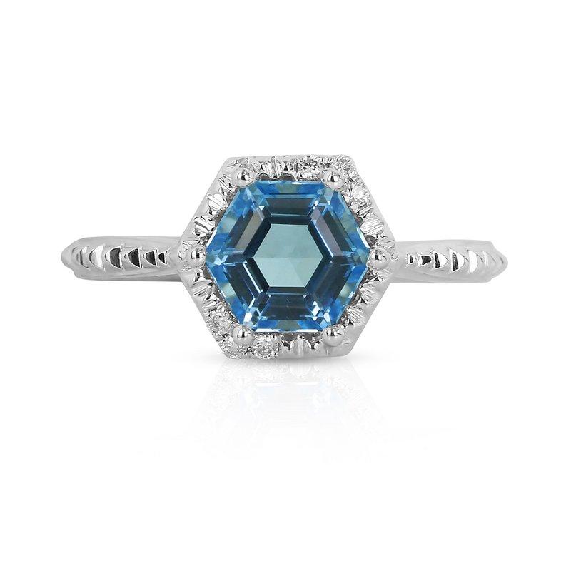 Yael Designs Geometric Blue Topaz Ring 14KW