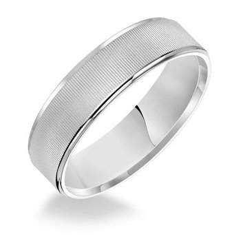 6MM Flat Linear Finish Wedding Band