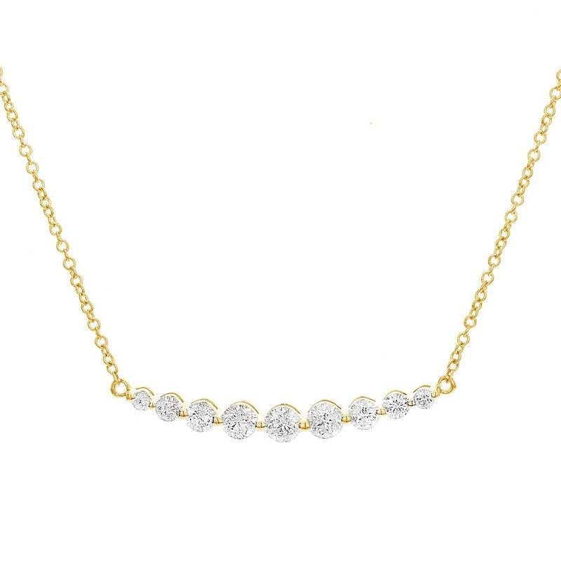 London Gold Designs Graduated Diamond Bar Necklace 18KY