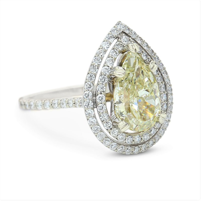London Gold Designs Fancy Yellow 2.63 Pear Halo Ring 18KW