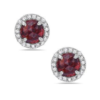 14k White Gold Red Garnet and Diamond Earrings