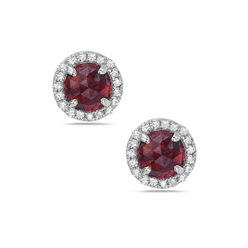 Cline 14k White Gold Red Garnet and Diamond Earrings